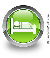 Hotel glossy icon - hotel icon on glossy green round button