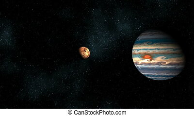 Two planets in space chasm - Two planets fly on a meeting...