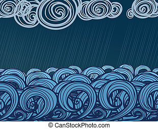 hand-drawn sea waves - Seamless background of hand-drawn sea...