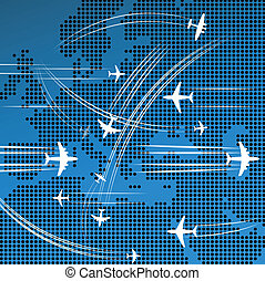 Airplanes flying over the map - Airplanes flying over the...
