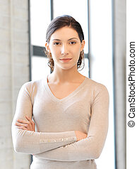 calm and serious woman - bright picture of calm and serious...