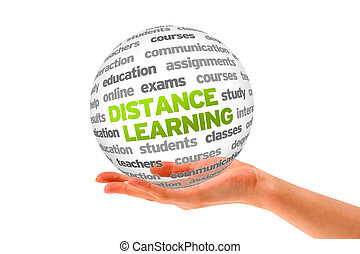 Distance Learning - Hand holding a 3d Distance Learning...