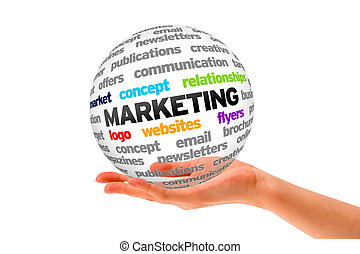 Marketing - Hand holding a 3d Marketing Sphere on white...