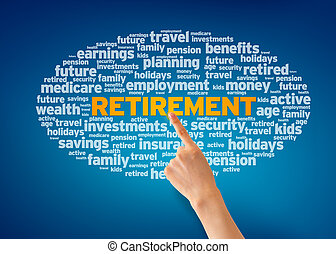 Retirement - Hand pointing at a Retirement word cloud on...