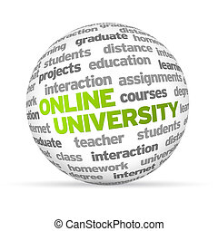 Online University - 3d Online University Word Sphere on...