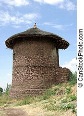 Hut in Ethiopia - A traditional African hut in Lalibela, in...