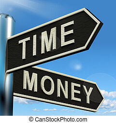 Time Money Signpost Showing Hours Are More Important Than Wealth