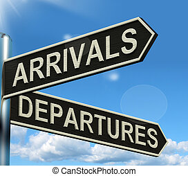 Arrivals Departures Signpost Shows Flights Airport And...