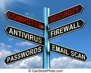 Computer Security Signpost Shows Laptop Internet Safety -...