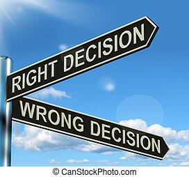 Right Or Wrong Decision Signpost Shows Confusion Outcome And...