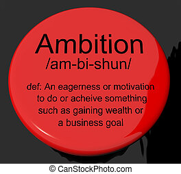 Ambition Definition Button Shows Aspirations Motivation And...