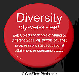 Diversity Definition Button Showing Different Diverse And...