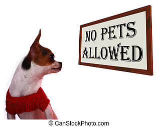 No Pets Allowed Sign Showing Unauthorized Forbidden Zone -...