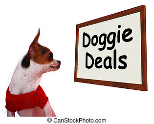 Doggie Deals Sign Showing Dog Bargains Deals And Clearance -...