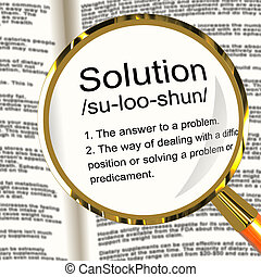 Solution Definition Magnifier Shows Achievement Vision And Success