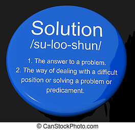 Solution Definition Button Showing Achievement Vision And Succes