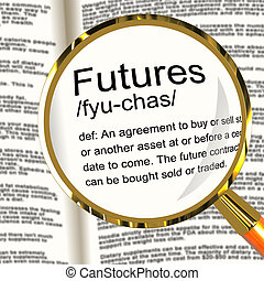Futures Definition Magnifier Showing Advance Contract To Buy Or