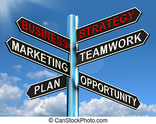 Business Strategy Signpost Showing Teamwork Marketing And...