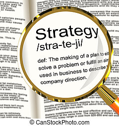 Strategy Definition Magnifier Showing Planning Organization And