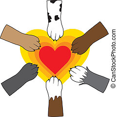 Paws and Heart - A central, radiating heart image, has dog...