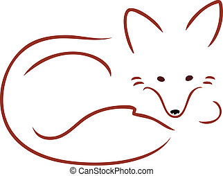 Vulpes Vulpes - An outline image of a cute red fox curled up...