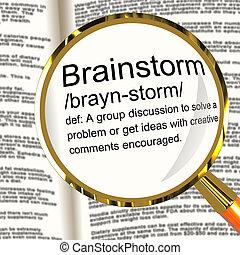 Brainstorm, definição, magnifier, mostrando,...