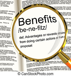 Benefits Definition Magnifier Showing Bonus Perks Or Rewards...
