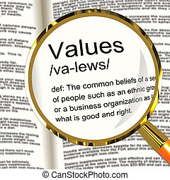 Values Definition Magnifier Showing Principles Virtue And...
