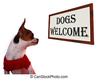 Dogs Allowed Sign Showing Doggie Friendly Hotel - Dogs...