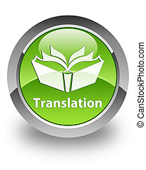 Translation glossy icon - translation icon on glossy green...