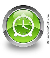 Clock glossy icon - clock icon on glossy green round button