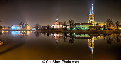 Ostrow Tumski in the night, Wroclaw, Poland