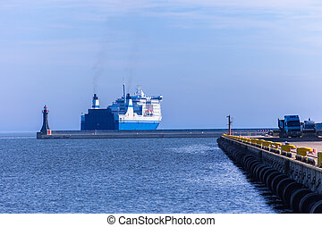 Passenger ferry at sea - Passenger ferry departs from a port...