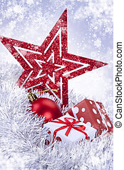 Christmass decoration, baubles and presents and christmass...
