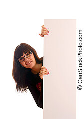 Woman with a blank sign - Young woman with a blank sign