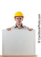 Handy Man with blank plackard