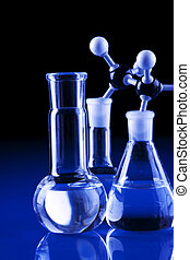 Laboratory Glassware in dark lab