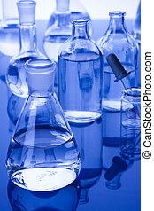 Laboratory Glassware in dark lab