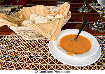 Ecuadorian hot sauce and bread of yucca - typical Ecuadorian...