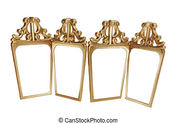 Antique Mirrors on White Background