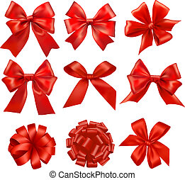 Big set of red gift bows with ribbo
