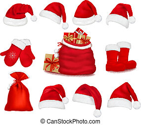 Big set of red santa hats and clothes and a gift bag. Vector...