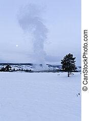 Winter, Old Faithful Geyser, Yellowstone NP