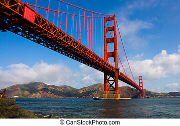 Golden Gate Bridge with cloudy sky