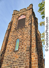Tower - Gothic style architecture of tower of the Episcopal...