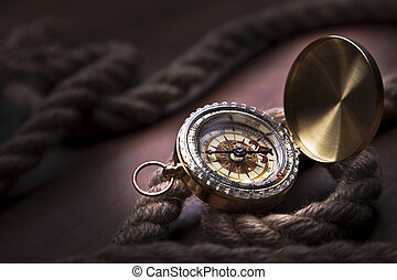 Old navigation equipment, compass and other instruments