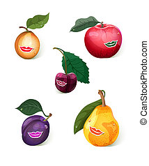 Smiling fruits set - Set of 5 smiling fruits: apple, pear,...