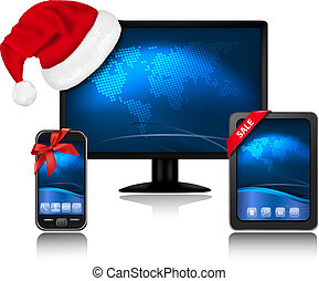 Christmas monitor with Santa hat and Tablet Compute and...