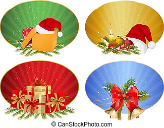 Set of winter christmas backgrounds