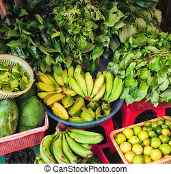 fresh fruit and vegetables for sale at ben thanh market
